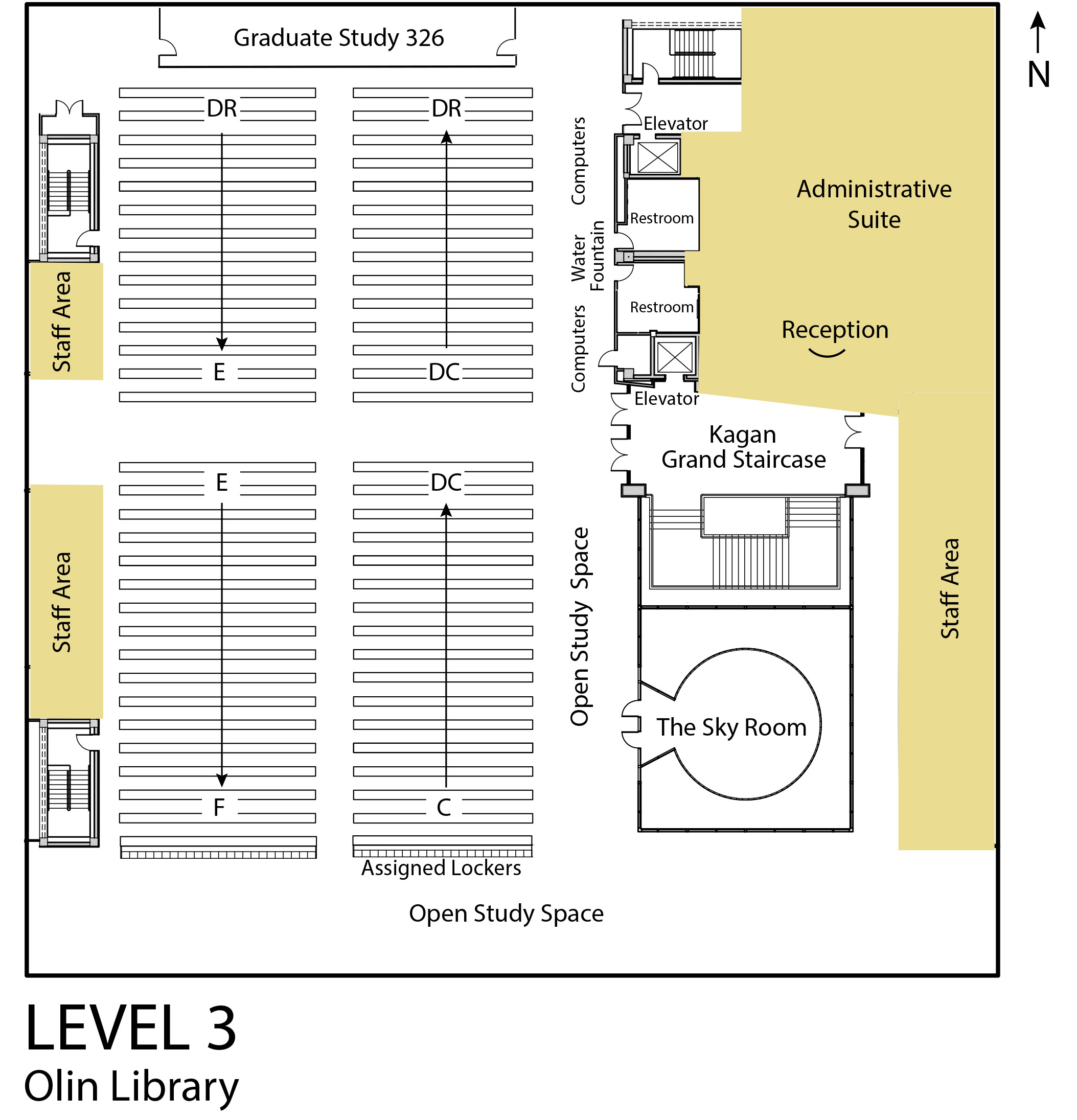 Map of Olin Library Level 3