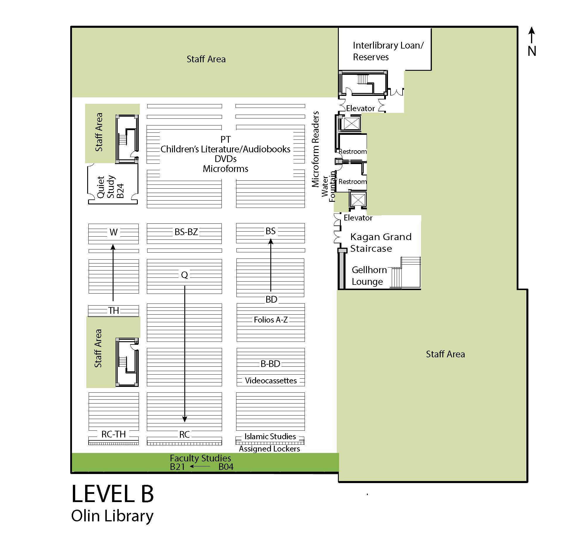 Map of Olin Library Level B