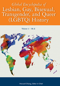 "Image of a book cover with mustard yellow heading ""Global Encyclopedia of Lesbian, Gay, Bisexual, Transgender, and Queer (LGBTQ) History."" The cover includes a multicolor map of the world."