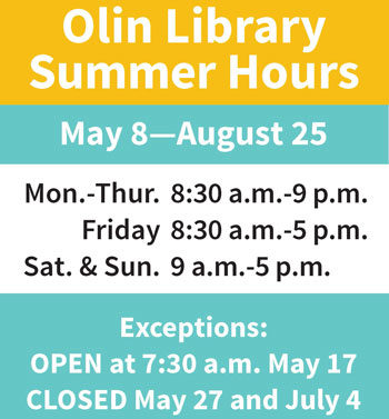 Olin Library Summer Hours