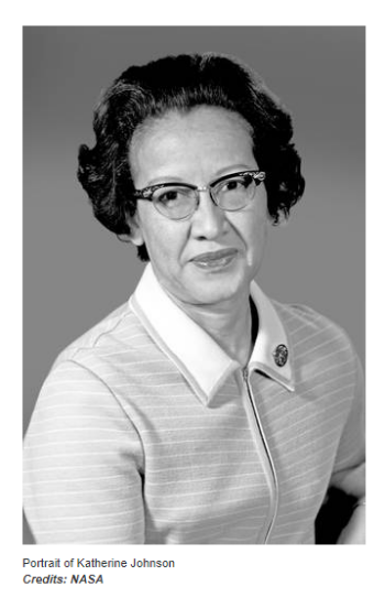 Photo portrait of Katherine Johnson. Johnson is in a collared blouse and horned-rimmed glasses.