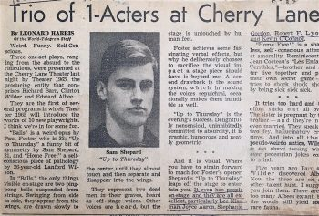 """Newspaper clipping of a review of Up to Thursday from 1965. The review headline reads """"Trio of 1-Acters at Cherry Lane."""""""