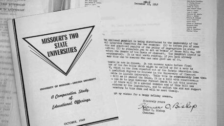 Missouri's Two State Universities booklet and letter from St. Louis Civil Liberties, 1949