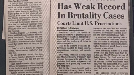 Newspaper articles about police brutality in St. Louis, from the Post-Dispatch 1990s