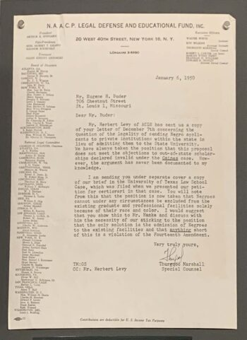 typed letter on NAACP letterhead