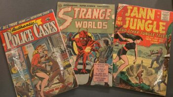 Covers of comic books Authentic Police Cases, Strange Worlds, Jann of the Jungle
