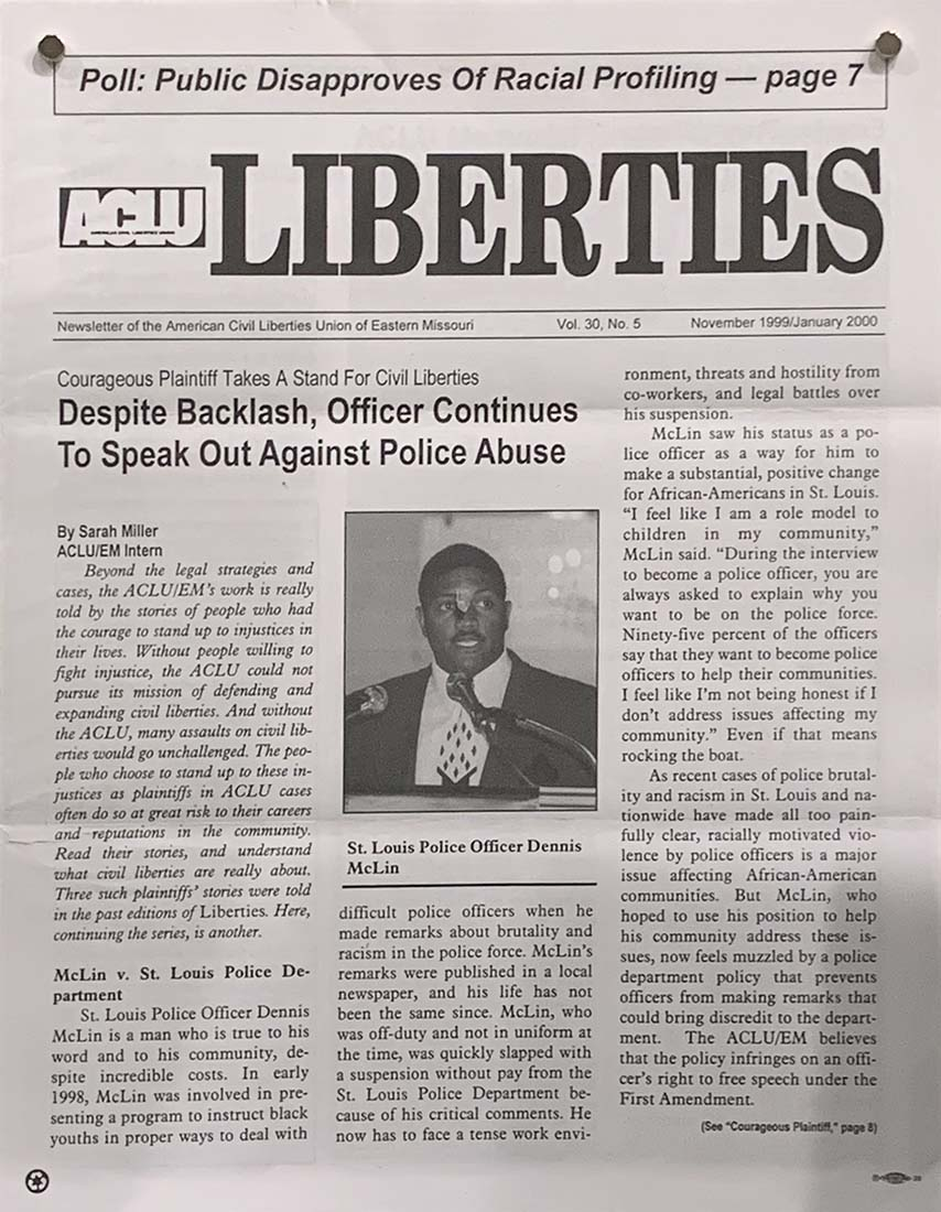Liberties newsletter with photograph of McLin