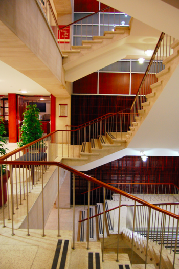 The finished Andrew and Jayne Kagan Grand Staircase in John M. Olin Library.
