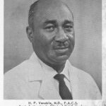 Portrait of Dr. Venable. Caption: H.P. Venable, M.D. F.A.C.S. Asst. Instructor in Clinical Opthalmology Washington University School of Medicine; Head and Director, Department of Ophthalmology Homer G. Phillips Hospital