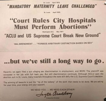 "flyer ""Court riles city hospitals must perform abortions"""