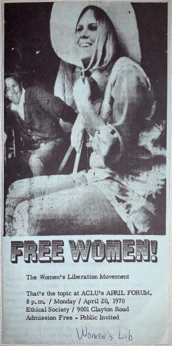 """woman wearing hat above words """"Free women!"""""""