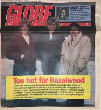 "Globe magazine headline ""To Hot for Hazelwood"""