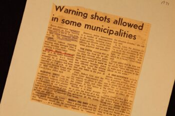 """newspaper clipping """"Warning shots allowed in some municipalities"""""""