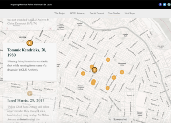 Mapping Historical Police Violence in St. Louis Storymap. This part of the story map gives a description of cases of police violence in St. Louis.