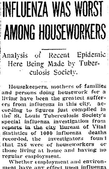 headline: Influenza was worst among houseworkers