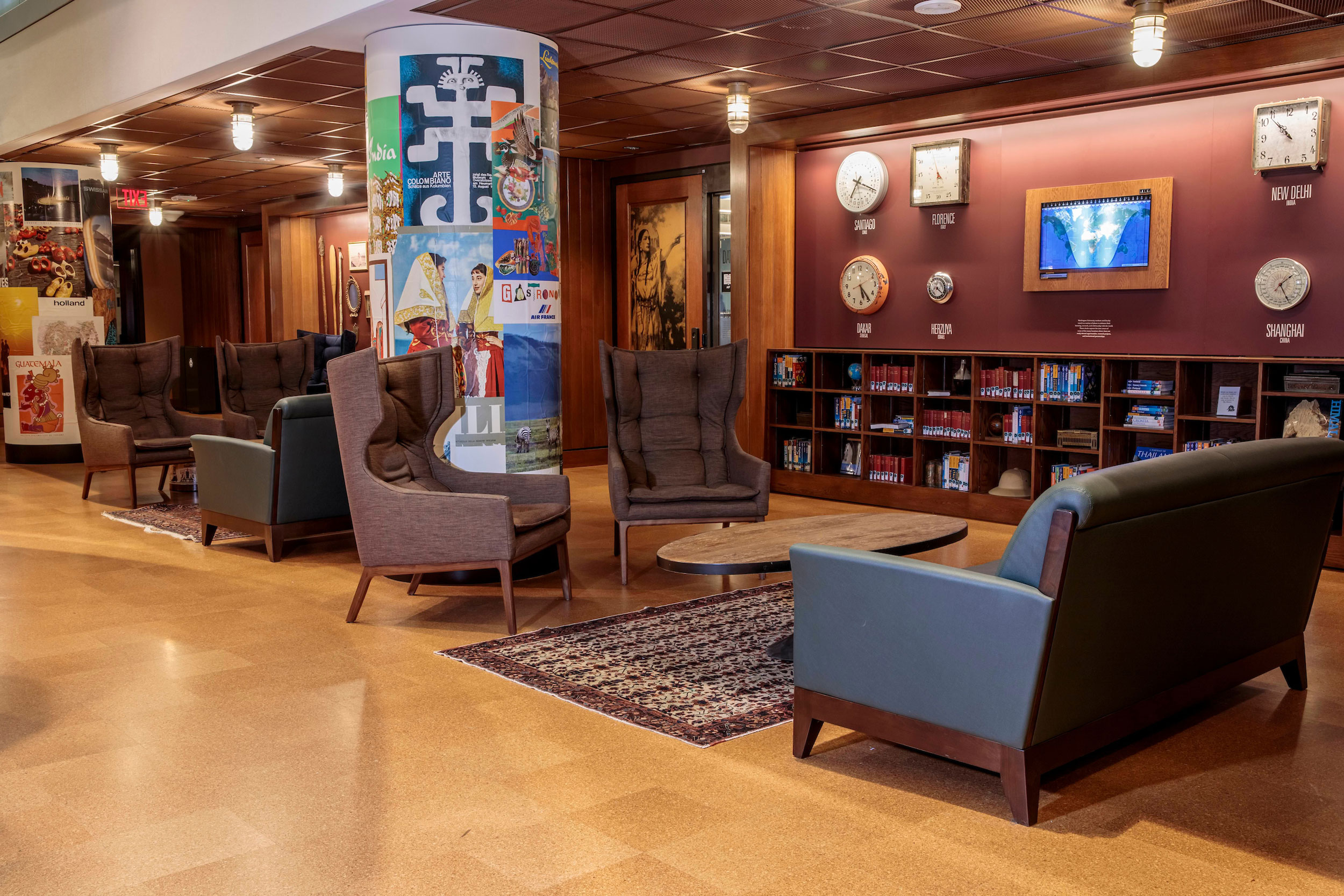 The wingback chairs and sofas in the study space at the Newman Exploration Center in Olin.