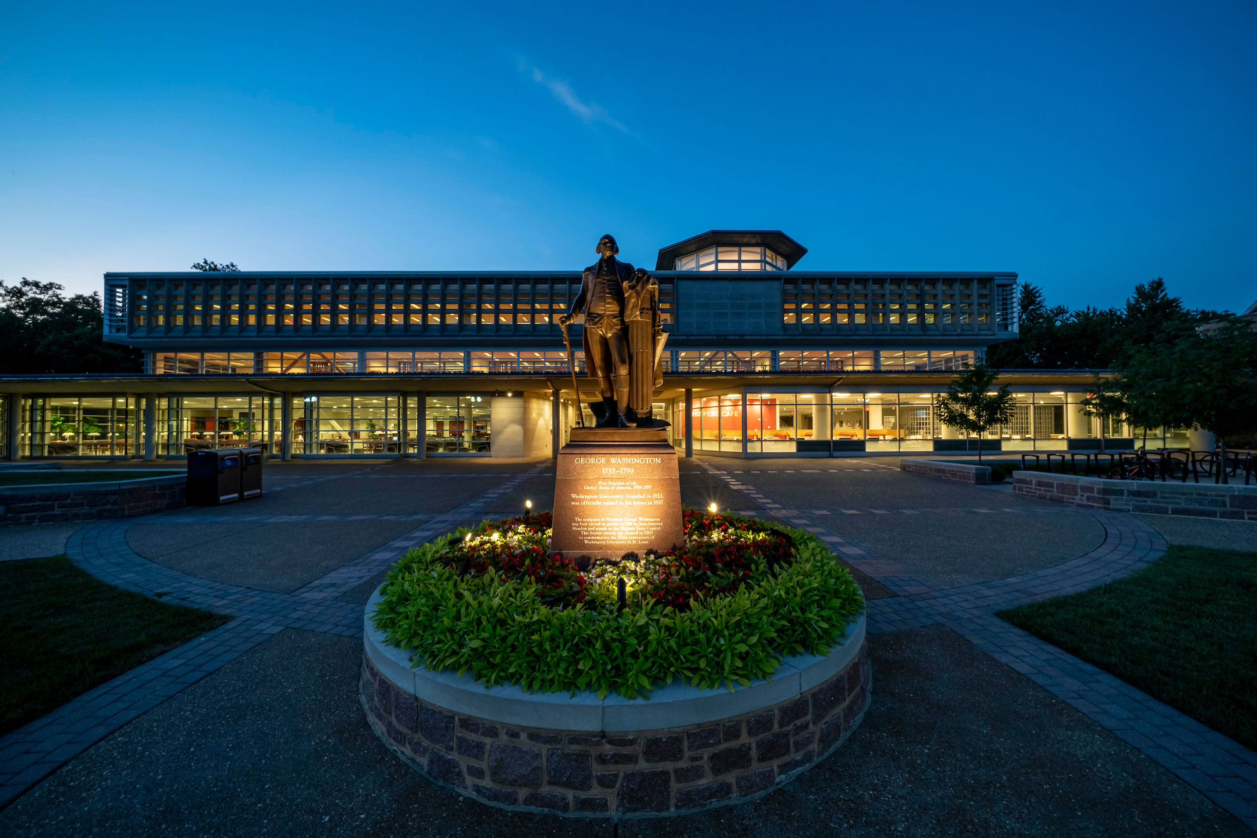 Exterior image of Olin Library at night