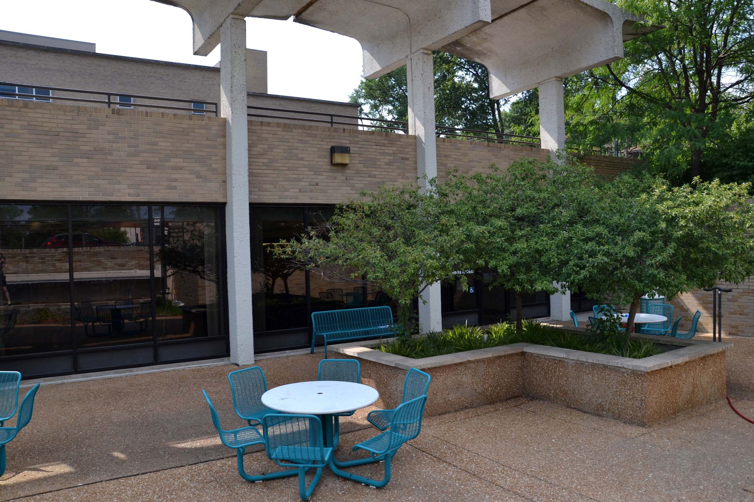 Seating outside West Campus.