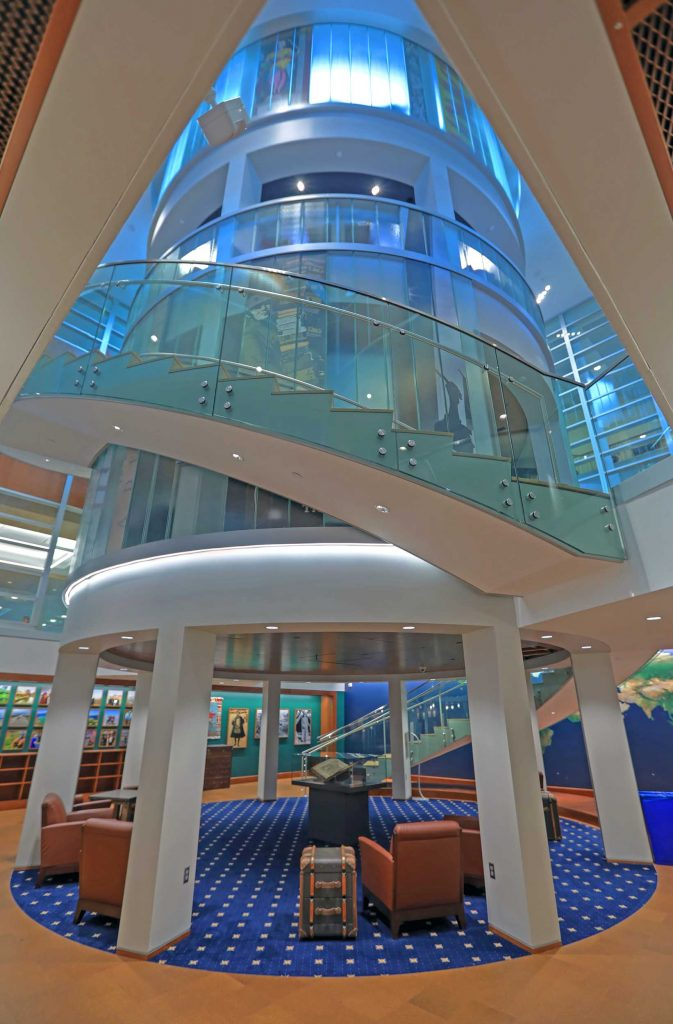 The Newman Exploration Center at the base of the glass staircase in the John M. Olin Library.