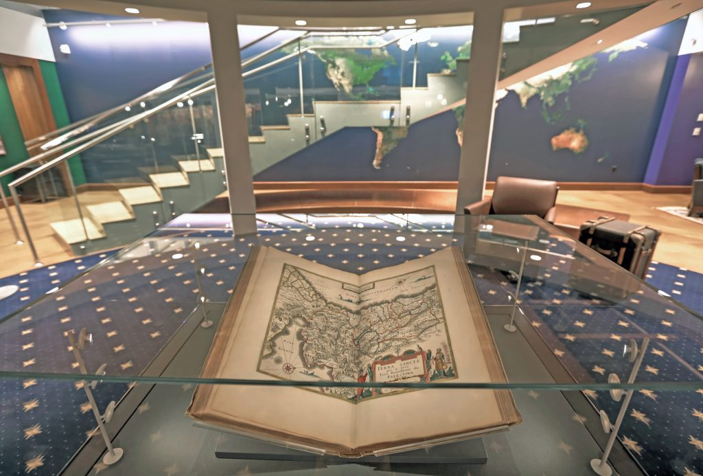The Atlas Maior is displayed open in a lovely glass display case at the center of the Newman Exploration Center.