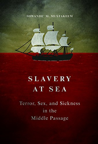 Cover for Professor Sowande' Mustakeem's Slavery at Sea. There is a ship sailing on a red sea.