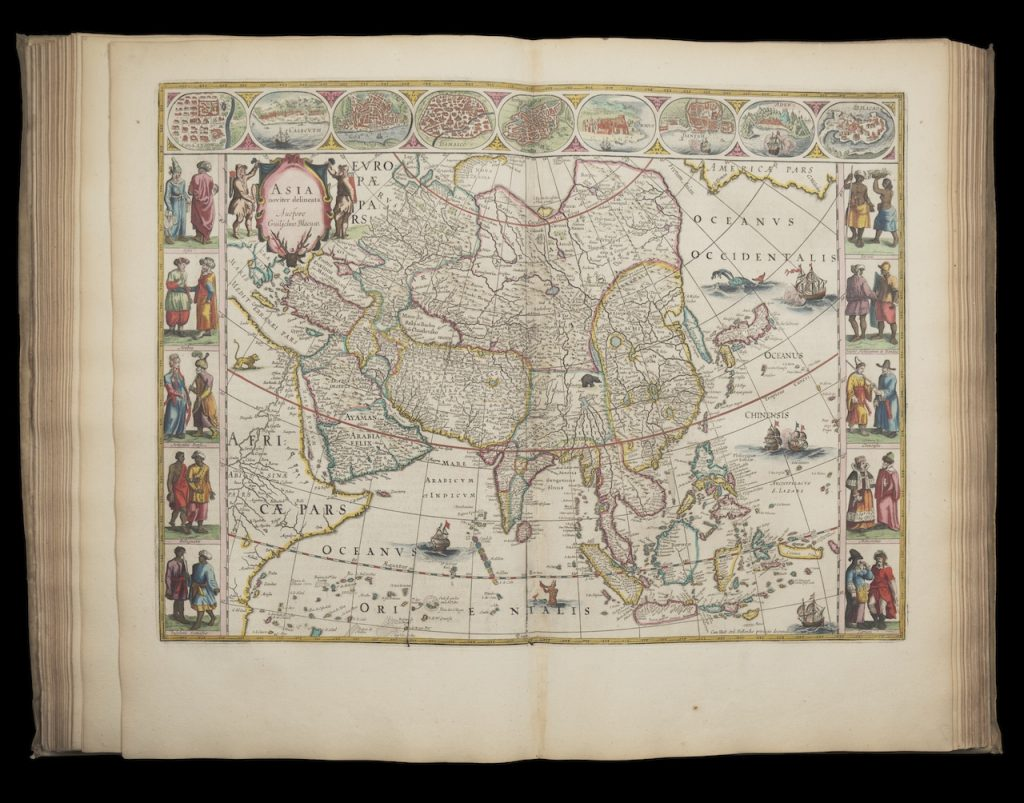 The pages displayed in this image depict an elaborate map of Asia found within the Atlas Maior. There are highly detailed and colorful drawings of the people found within the countries shown on the map.