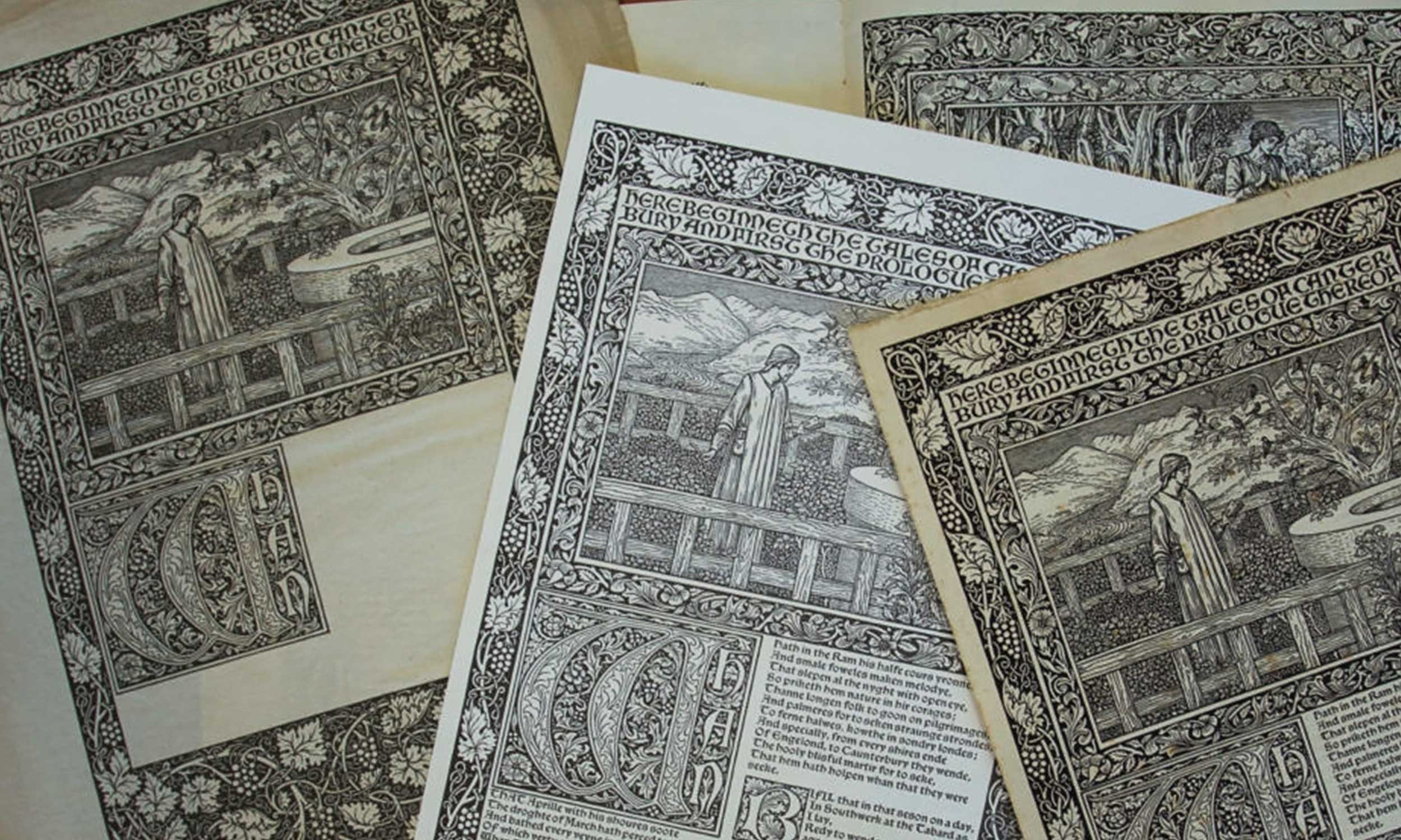 Various Trial pages from Kelmscott Press' Chaucer printing.