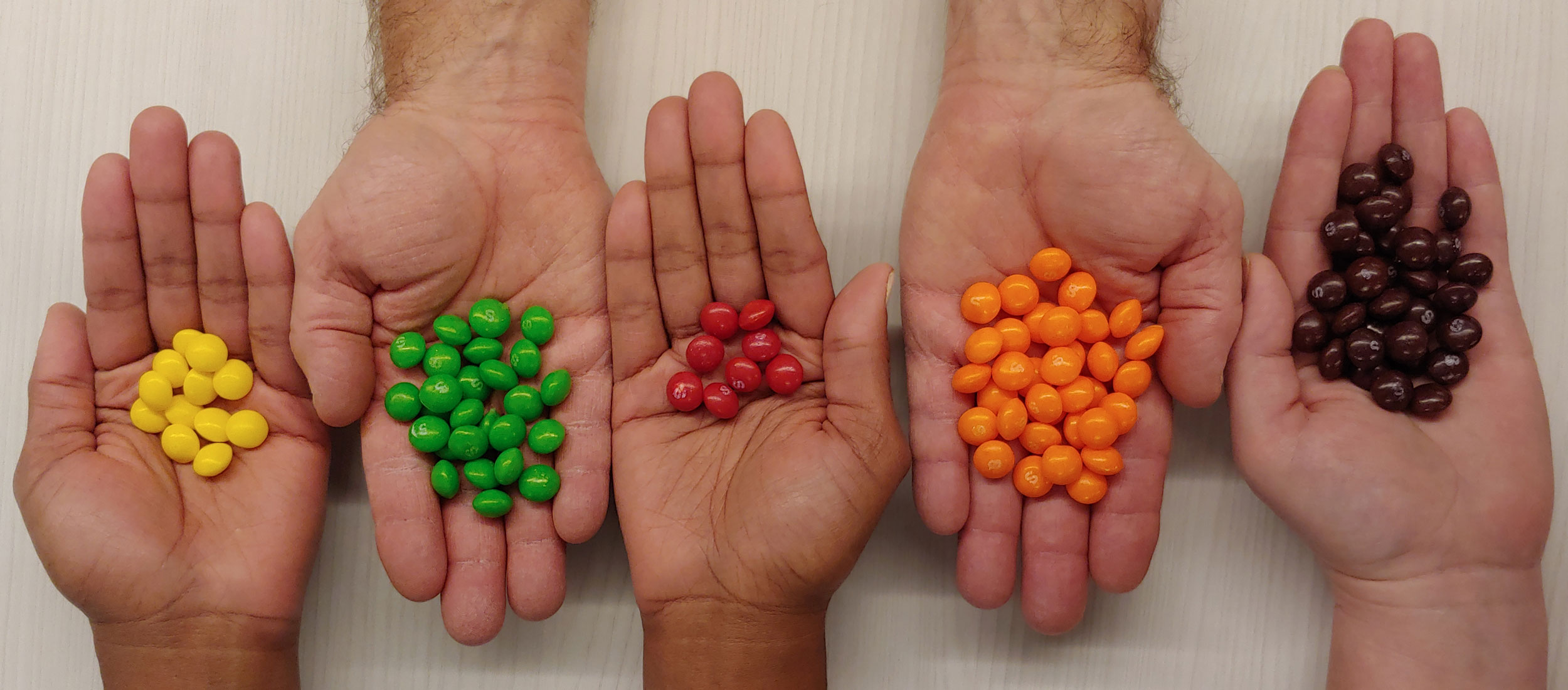 Five hands with organized (a single color grouping of candies in each hand) skittles in each representing organized data.