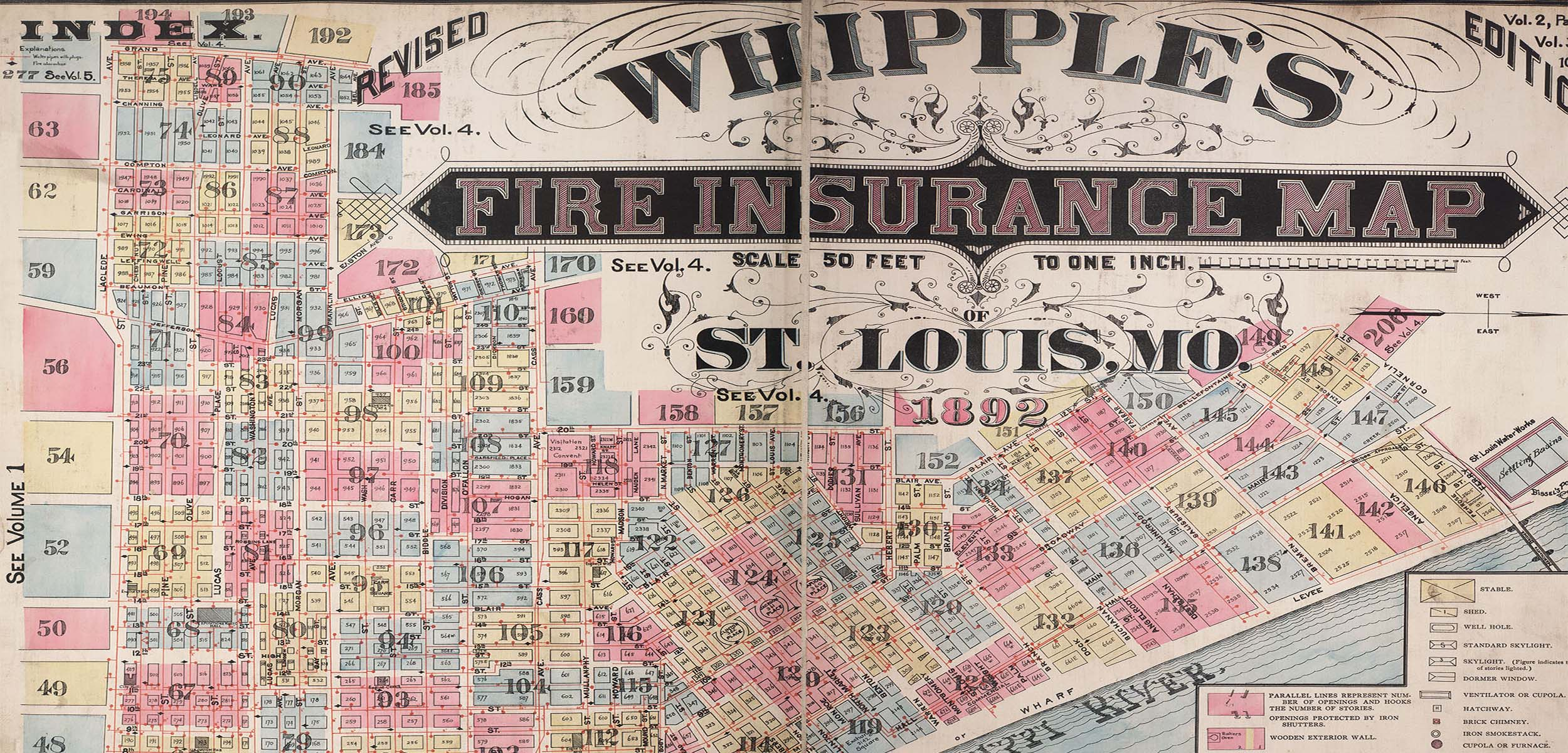 Unreal City, Whipple's Fire Insurance Map of St. Louis, MO, 1892.