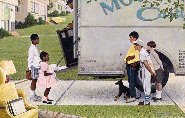 """""""New Kids in the Neighborhood,"""" published in 1967, uses Black and white children to highlight the tensions of housing integration. The image depicts two Black children (a boy and a girl with a baseball glove and fluffy, white cat respectively) standing in front of a moving truck with furniture coming off of it while a group of three white children (two boys, both with baseball gloves, one in a baseball uniform; one girl with pigtails) and a dog approach them."""