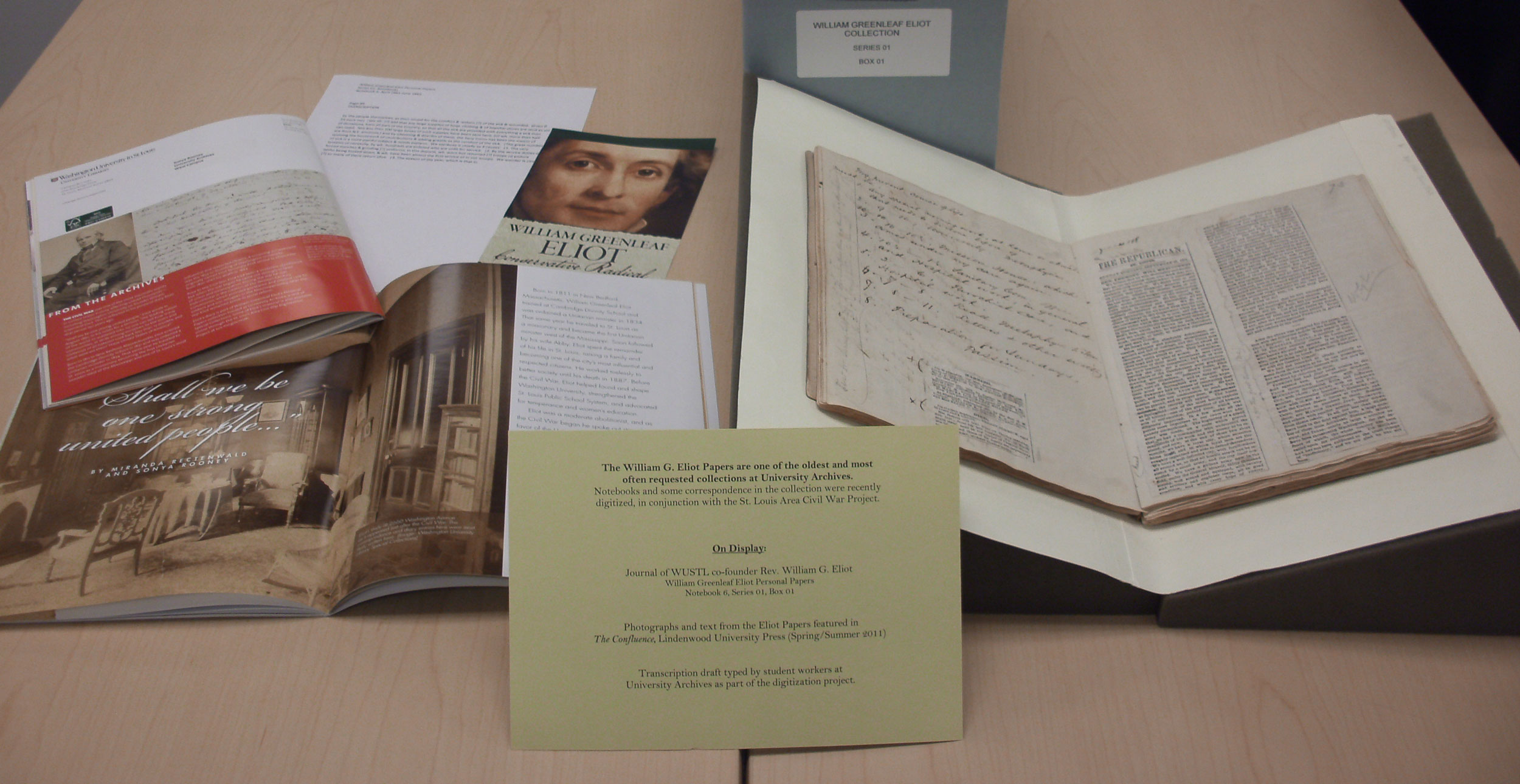 This image displays materials from the William G. Eliot Papers, one of the oldest and most often requested collections at the University Archives.