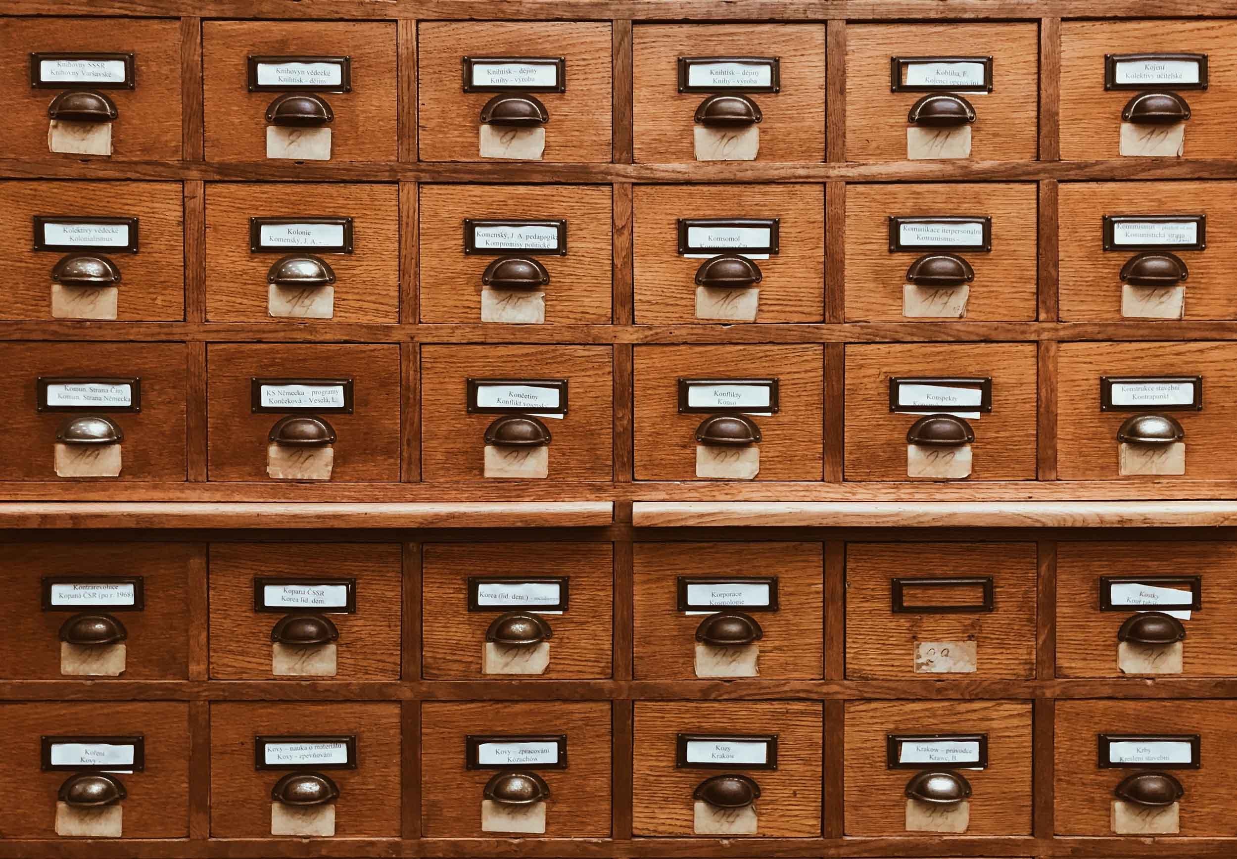 Close up of a classic card catalog previously used as a research finding aid.