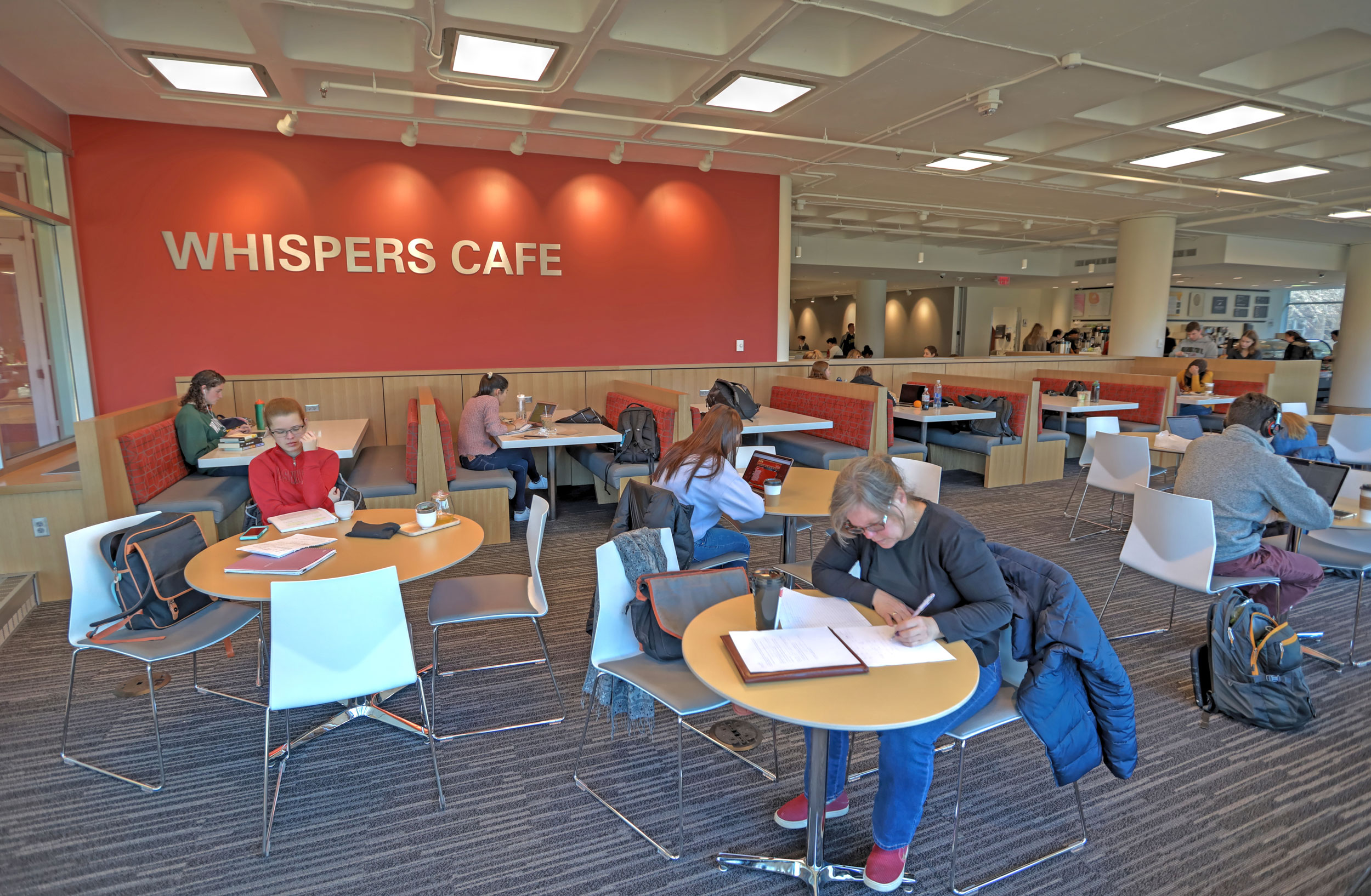 Students studying in Whispers Cafe.
