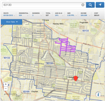 Screenshot of the U.S. Postal Service's online map tool. The screenshot shows a grid-line, street-by-street map for the 63130 area with a blue line outlining the zip code limits and a purple highlight for this user's route.
