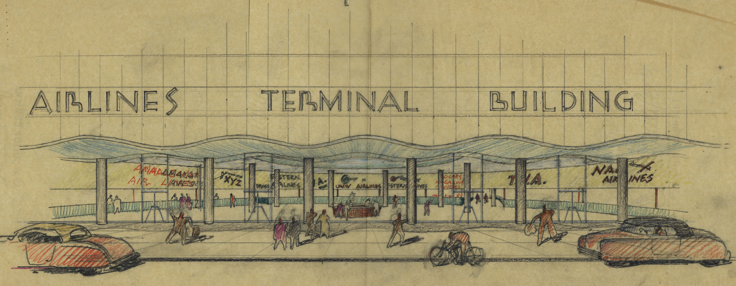 An airlines terminal sketch by the Harris Armstrong architectural firm.