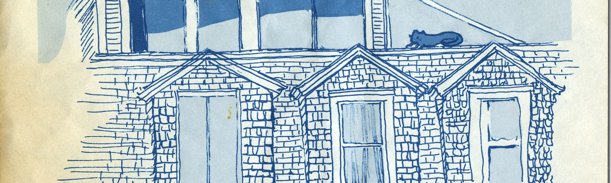 A drawing of a home done by James Merrill. A cat is added sitting in a window sill on the second floor of the home.