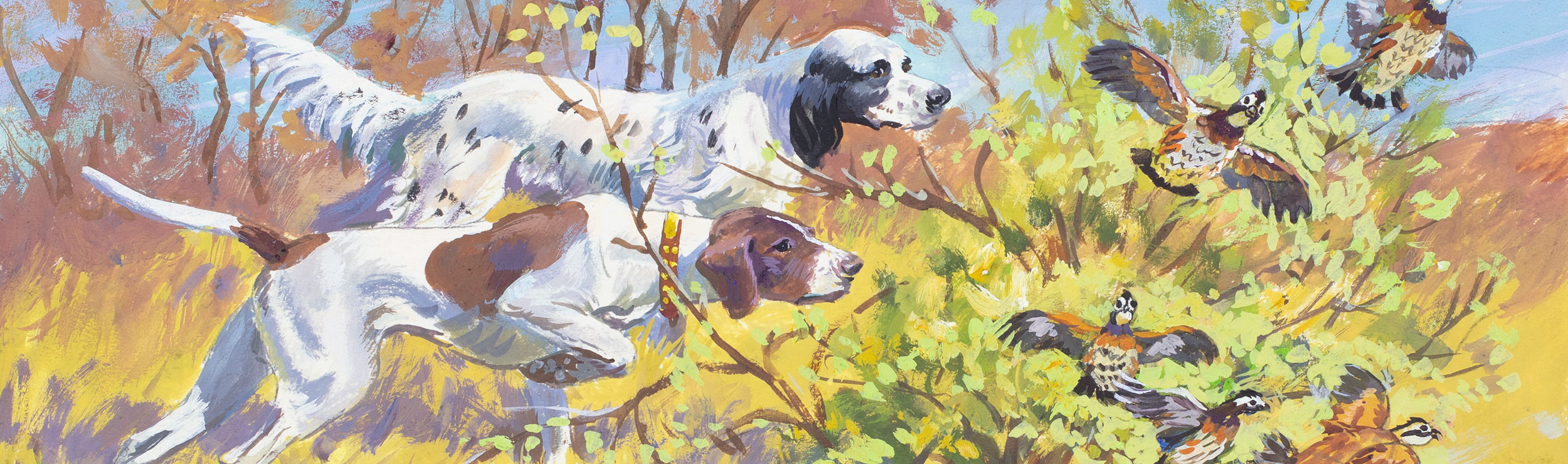 Close up of a painting of two hunting dogs and pheasants.