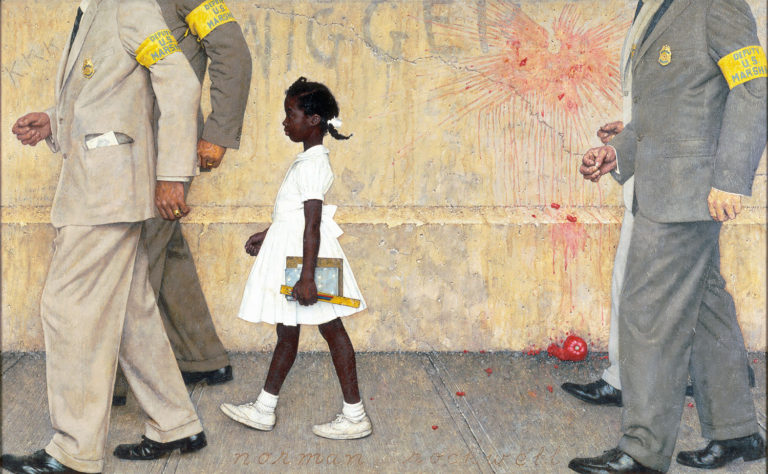 """Photo of """"The Problem We All Live With"""" painting depicting young Ruby Bridge walking to school between four white men guarding her on the path."""