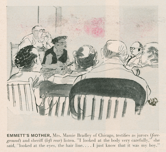 A courtroom artist's rendering of Emmett's Mother, Mrs. Mamie Bradley, as she testified during Emmett's case. In the drawing, Mrs. Mamie is the only woman in a court of men, and the only BIOPC at the table.
