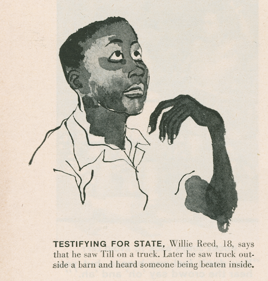 A courtroom artist's rendering of Willie Reed, 18, as he testified for Emmett Till.