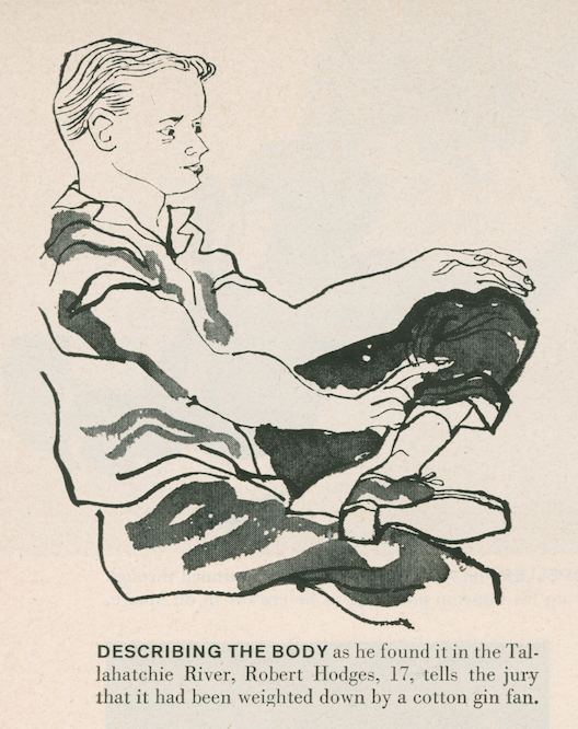 A courtroom artist's rendering of Robert Hodges, 17, describing how the body of Emmett Till was found. The artist shows Hodges leaning back in the chair, at ease with one leg crossed ankle-on-knee with the other.