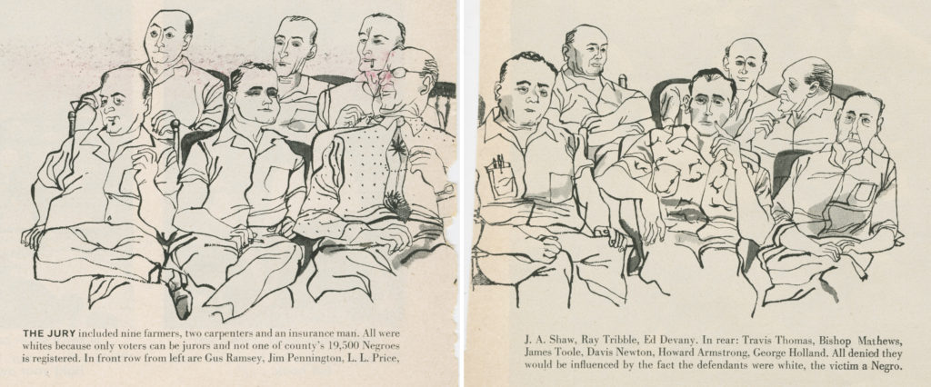Caricature sketch of the all-white, male jury during the case of Emmett Till, illustrated by Frank McMahon and seen in the 3 October 1955 issue of Life.