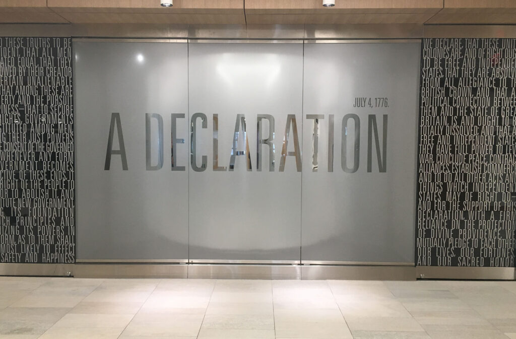The exterior of the Declaration of Independence exhibition chamber.