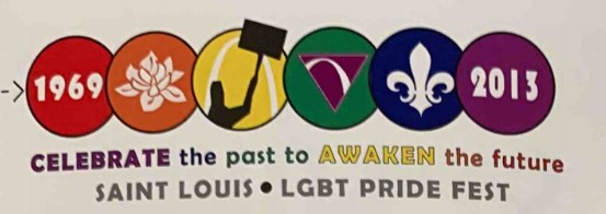 """The logo reads """"Celebrate the past to awaken the future: St. Louis LGBT Pride Fest"""" and features six circles, each circle standing for the color of the Pride flag (red, orange, yellow, green, blue, indigo). There are small pictures in each: 1969, a flower, the Arch, Arch in a triangle, the fleur-de-lis, and a 2013."""