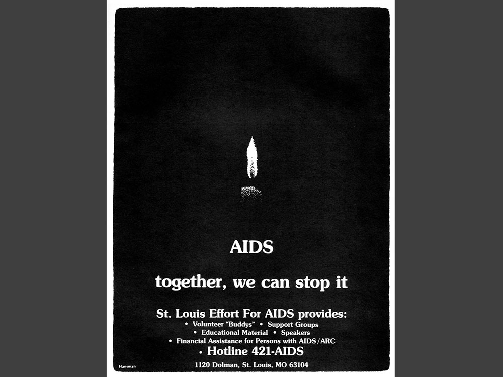 """Poster is dark with a single, small candle lit and text reading """"AIDS together, we can stop it."""" The poster notes services (such as support groups, educational materials, and financial assistance) provided by the St. Louis Effort for AIDS."""