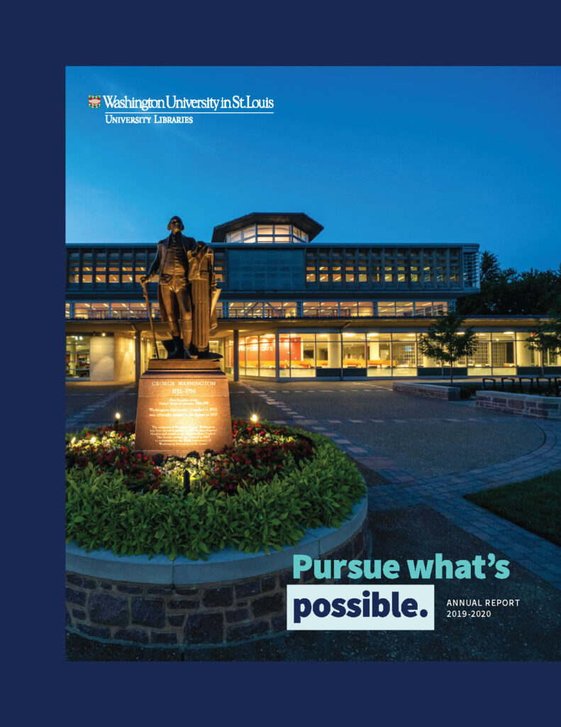 Cover of the Annual Report, 2019-2020. The cover image depicts the George Washington statue in front of the Olin Library at dusk.