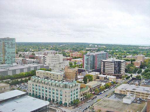 City of Evansville, IL skyline in 2005