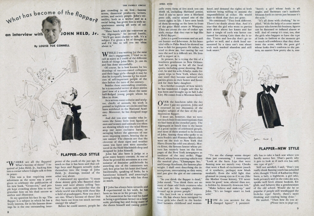 """""""What Has become of the Flapper,"""" 1934 article about John Held Jr."""