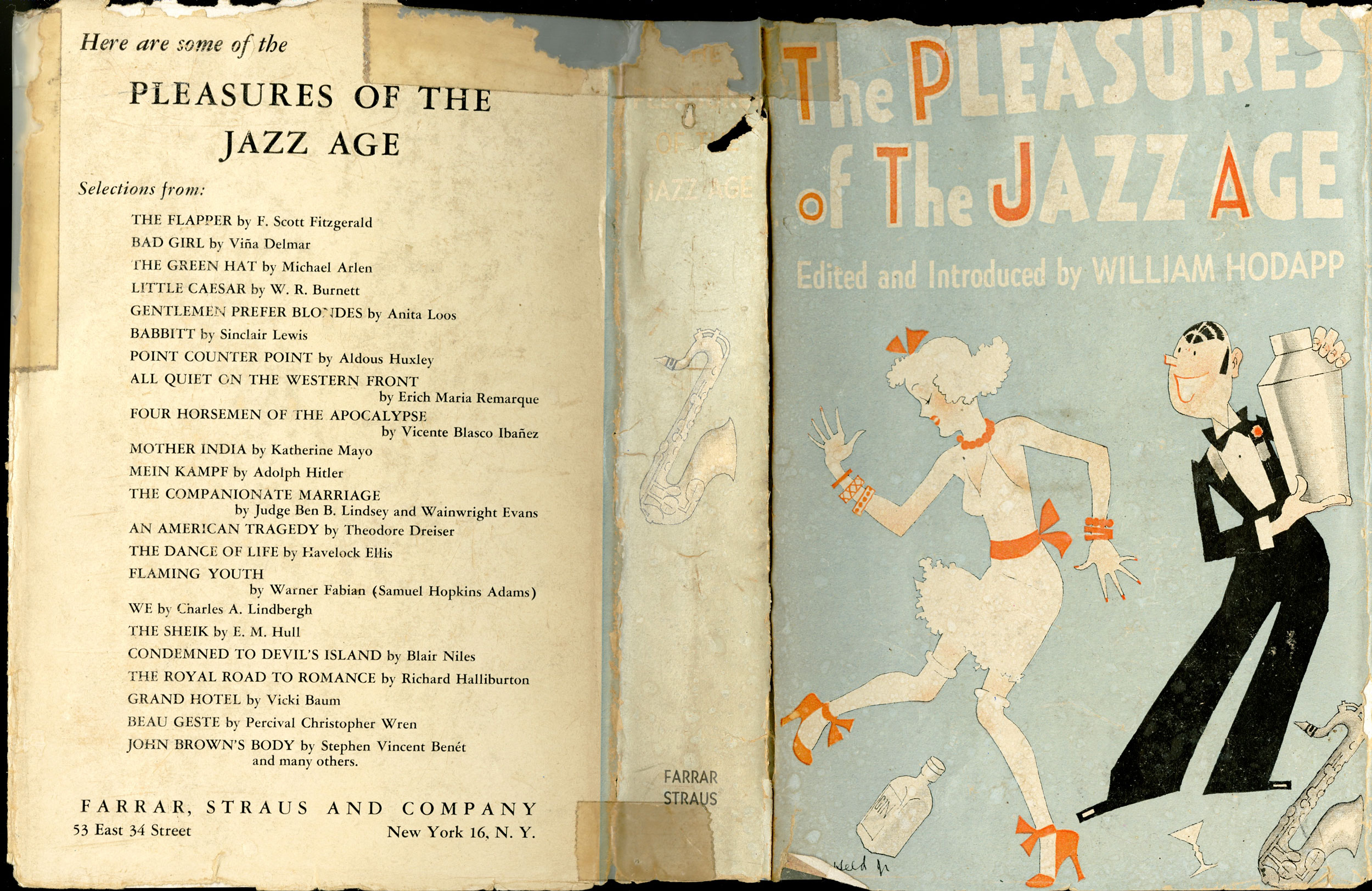 Book Jacket by John Held Jr. for The Pleasures of the Jazz Age which presents a compilation of literature set or written during the Jazz Age. The cover art depicts a flapper dancing alongside a bartender holding a cocktail shaker.