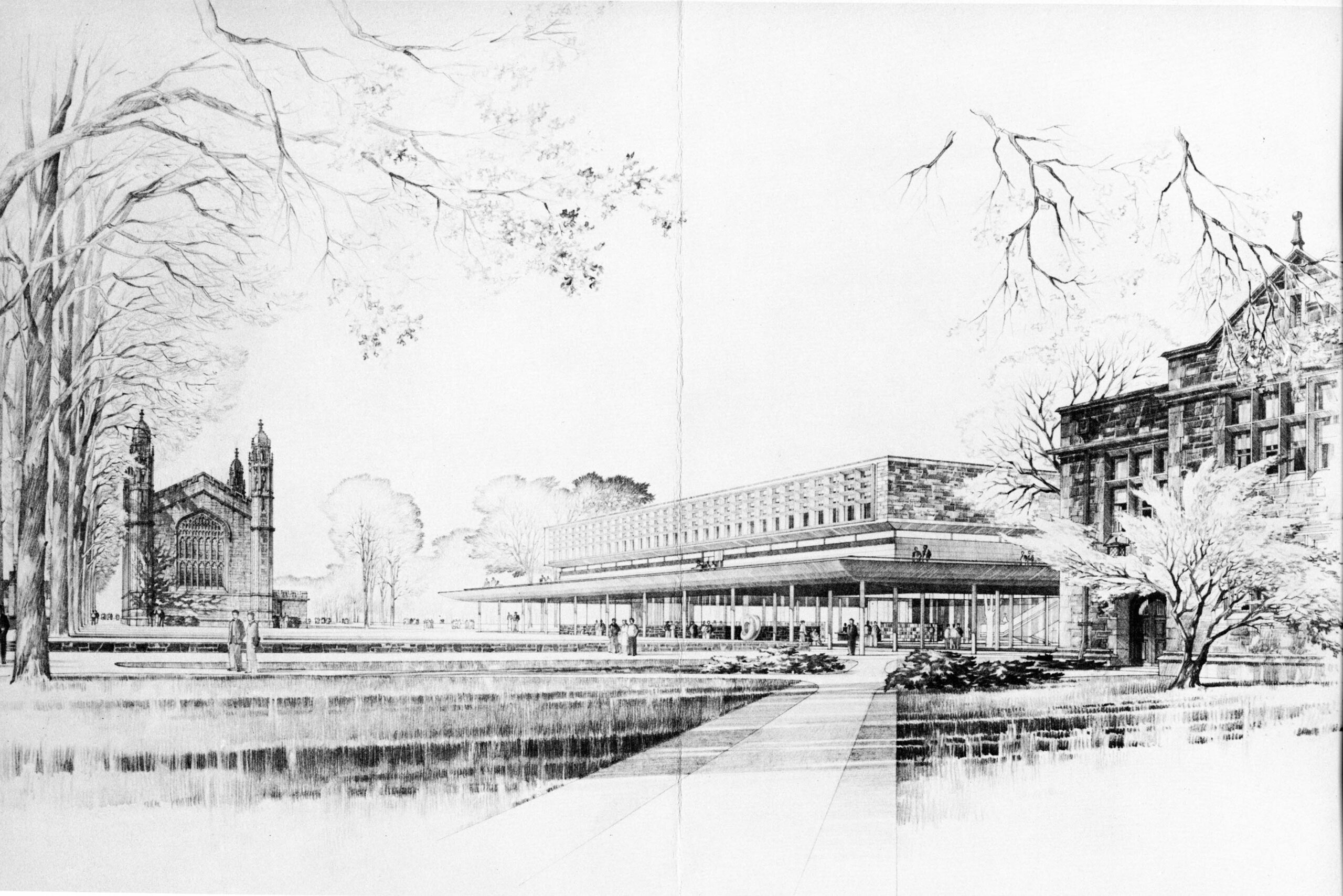 An architectural sketch of Olin Library. The sketch is lovingly detailed with both existing campus trees and neighboring buildings.